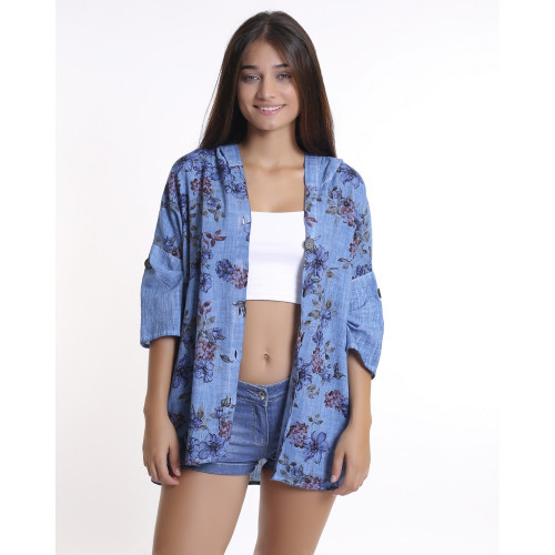 Blue Floral Patterned Hooded Jacket