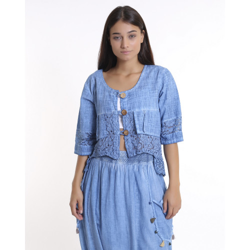 Lace Detailed Bohemian Short Jacket - Blue