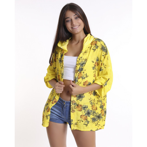 Yellow Floral Patterned Hooded Jacket