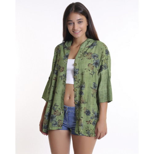 Green Floral Patterned Hooded Jacket