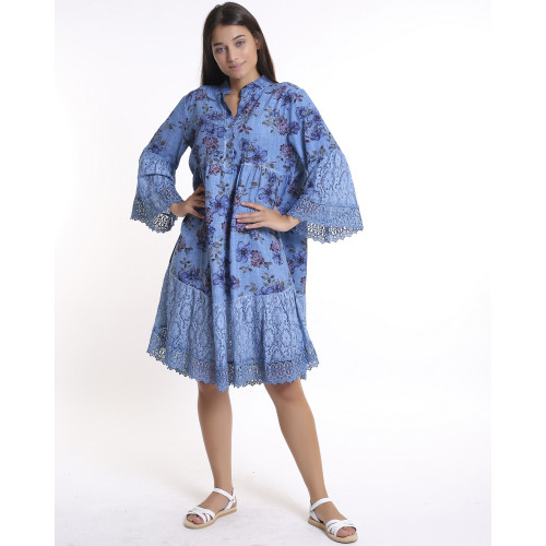Blue Floral Pattern Lace Detailed Dress