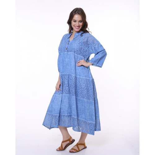 Blue Lace Detailed Bohemian Dress