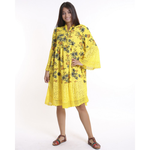 Yellow Floral Pattern Lace Detailed Bohem Dress