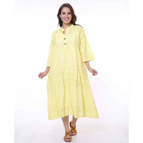 Yellow Lace Detailed Bohemian Dress