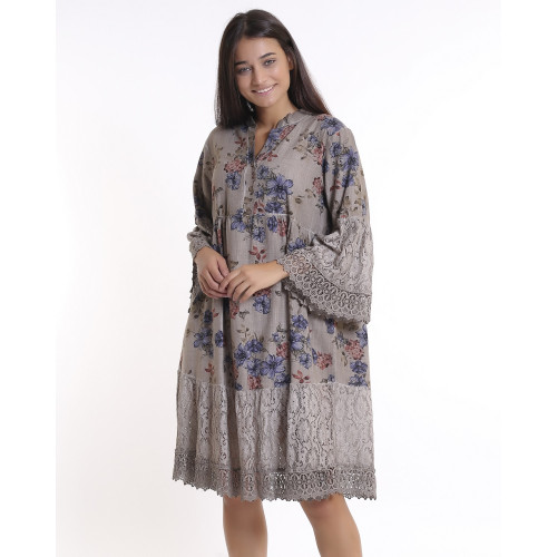 Stone Color Floral Pattern Lace Detailed Bohemian Dress
