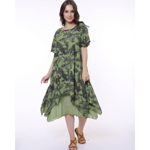 Leaf Pattern Khaki Authentic Dress