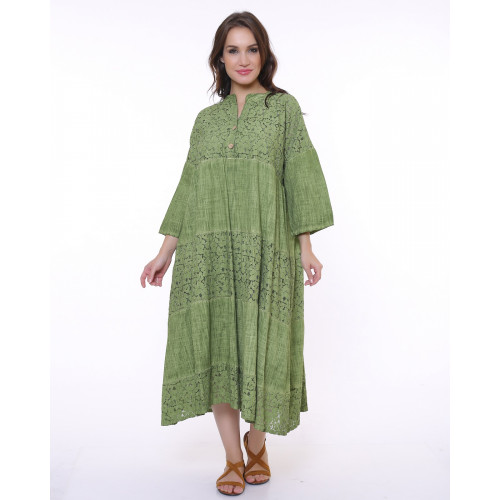 Green Lace Detailed Bohemian Dress