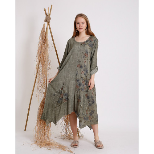 Flower Patterned Khaki Long Sleeve Dress