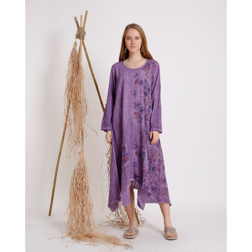 Flower Patterned Purple Long Sleeve Dress
