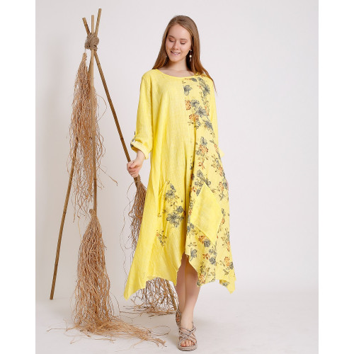 Flower Patterned Yellow Long Sleeve Dress