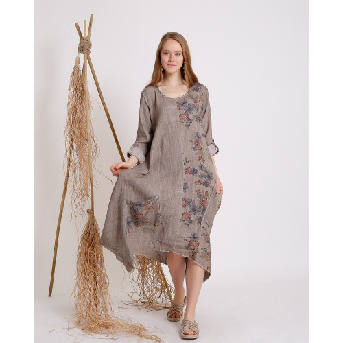 Flower Patterned Stone Color Long Sleeve Dress