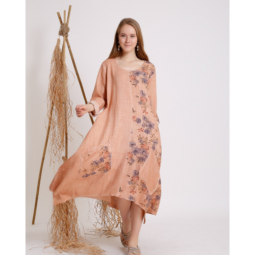 Flower Patterned Long Sleeve Dress - Cuban Sand