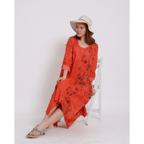 Flower Patterned Long Sleeve Dress - Brick Color