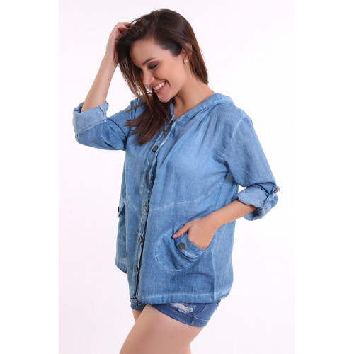 Authentic Hooded Jean Blue Shirt