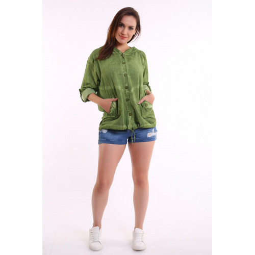 Authentic Hooded Green Shirt