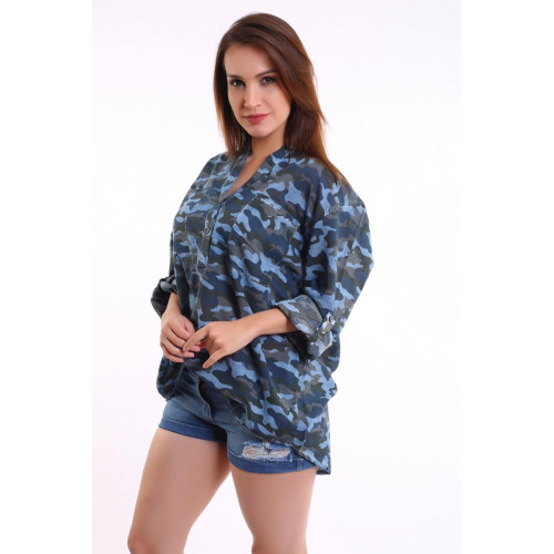 Camouflage Patterned Blue Shirt