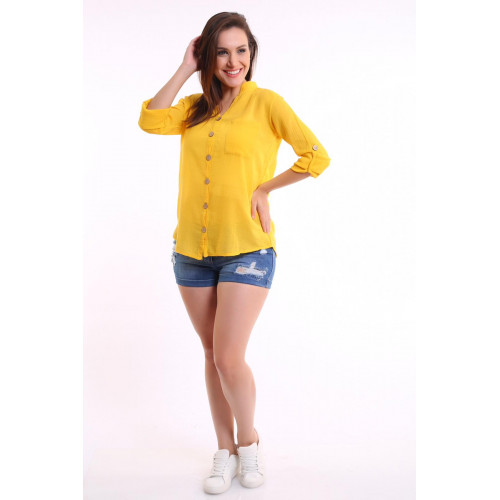 Long Sleeve Judge Collar Yellow Shirt