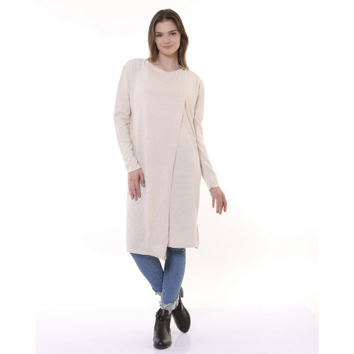 Long Knitwear Cardigan - Ecru