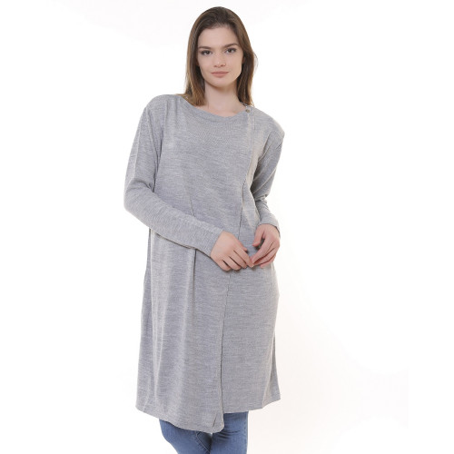 Long Knitwear Cardigan - Gray