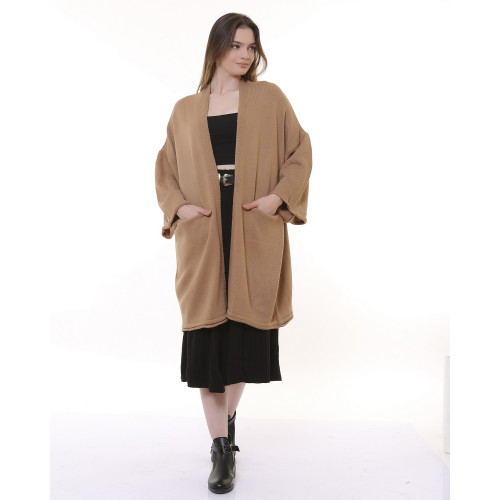 Long Knitwear Cardigan - Mink Color