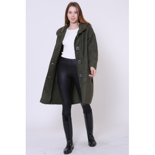 Hooded Khaki Felt Coat