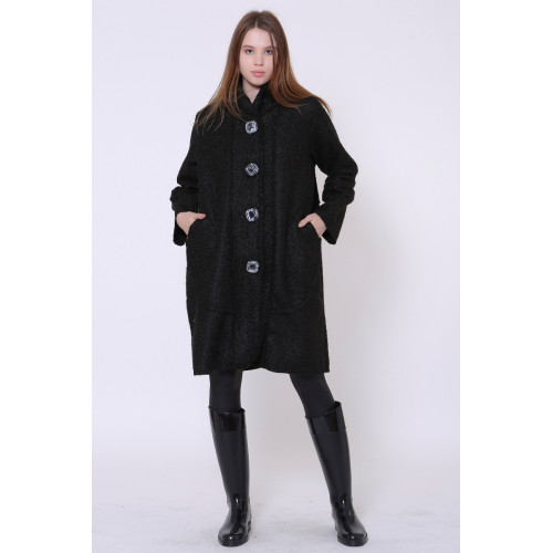 Hooded Black Felt Coat