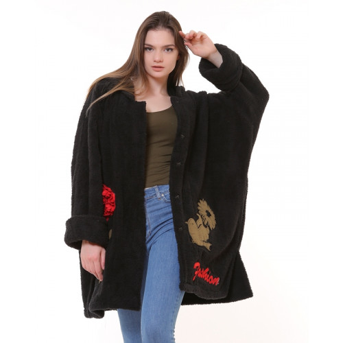 Bohemian Black Plush Coat