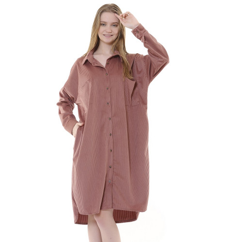 Corduroy Tunic Dress - Dried Rose