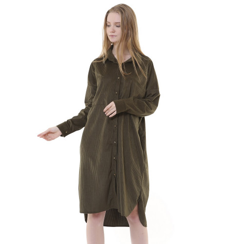 Corduroy Tunic Dress - Khaki