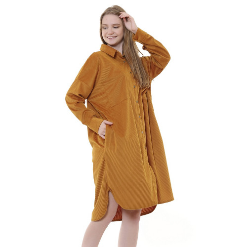 Corduroy Tunic Dress - Mustard