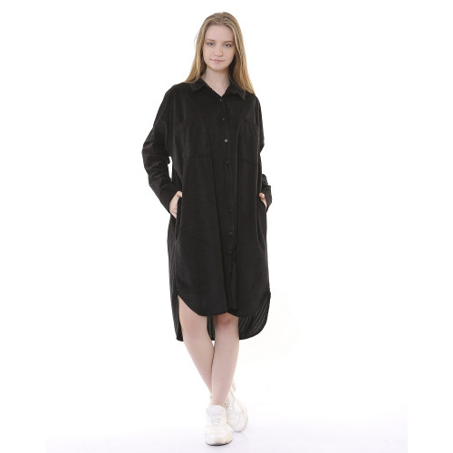 Corduroy Tunic Dress - Black