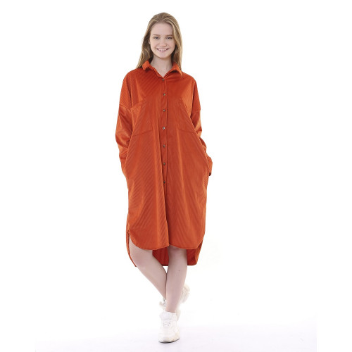 Corduroy Tunic Dress - Cinnamon