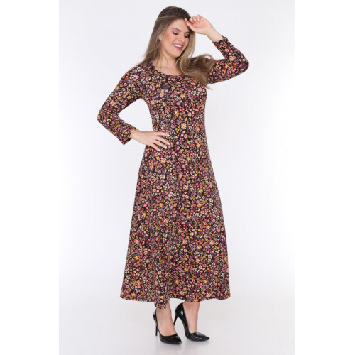 Floral Printed Long Sleeve Big Size Dress