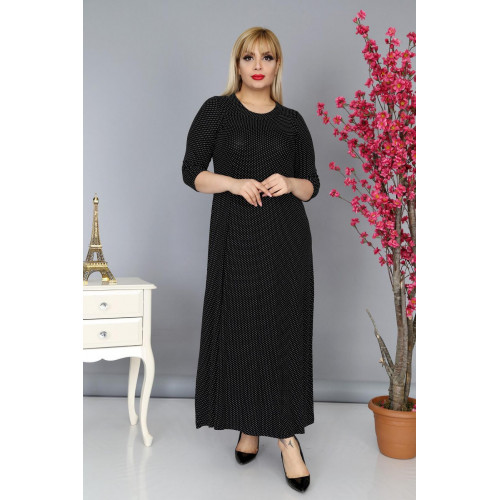 Big Size Patterned Black Long Dress