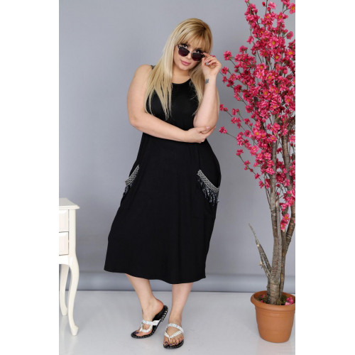 Big Size Pocket Detailed Black Sleeveless Dress