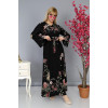 Big Size Floral Patterned Black Long Dress