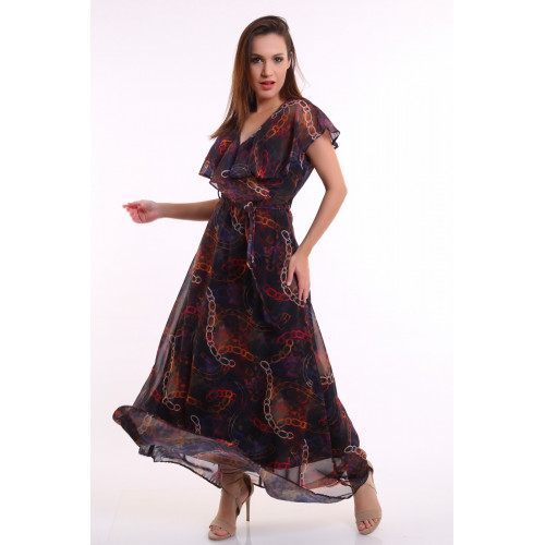 Chain Pattern Long Chiffon Dress
