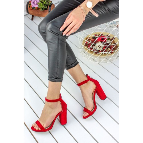 Alanzo Red Suede Heeled Shoes