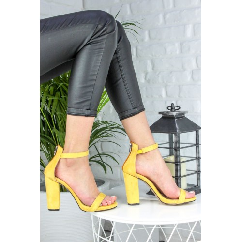 Alanzo Yellow Suede Heeled Shoes