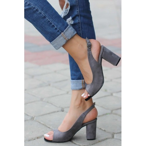 Aleyna Gray Suede Heeled Shoes