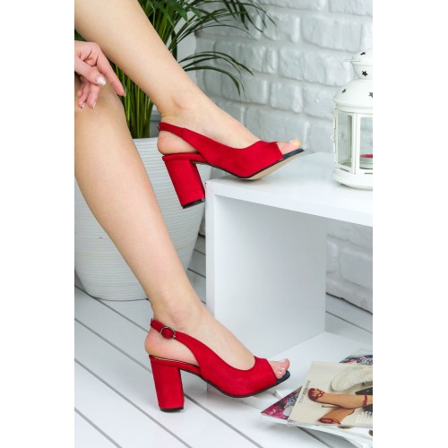 Aleyna Red Suede Heeled Shoes