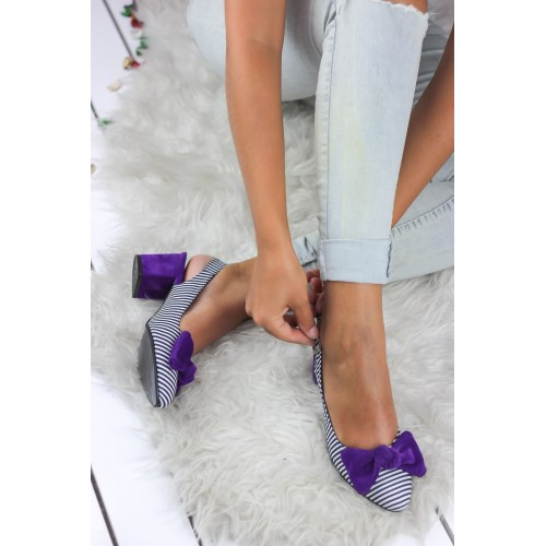 Alins Purple Bow Heeled Shoes