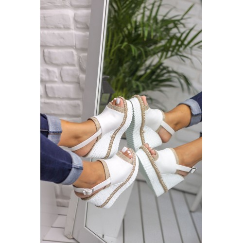 Allen White Wedge Heeled Shoes