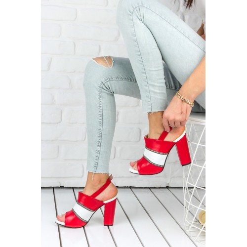 Almila Red Heeled Shoes
