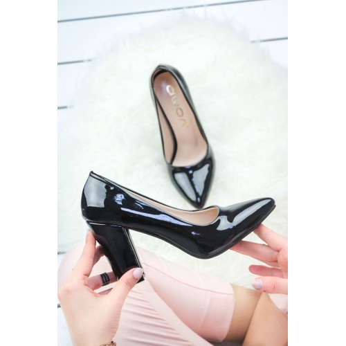 Amalda Black Patent Leather Stiletto Heeled Shoes