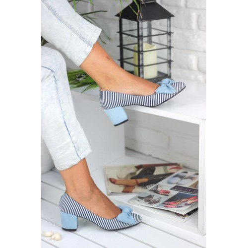Armel Bow Baby Blue Heeled Shoes