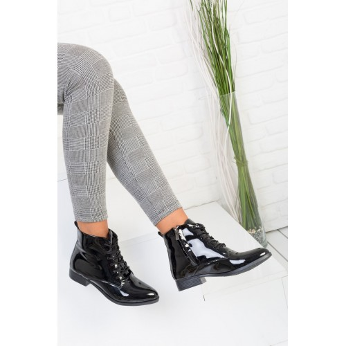 Asia Black Patent Leather Boots