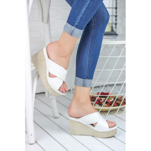 Despina White Wedge Heel Shoes