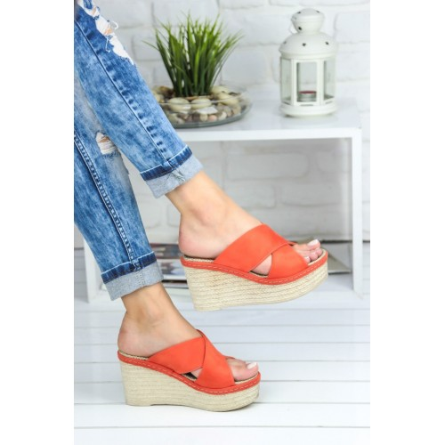 Despina Orange Suede Wedge Heel Shoes