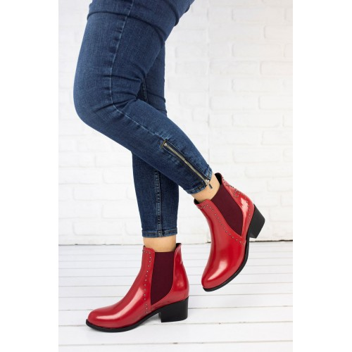 Charis Red Patent Leather Boots
